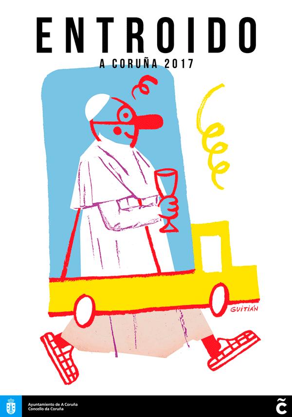Cartel de Guitián para o Entroido da Coruña 2017