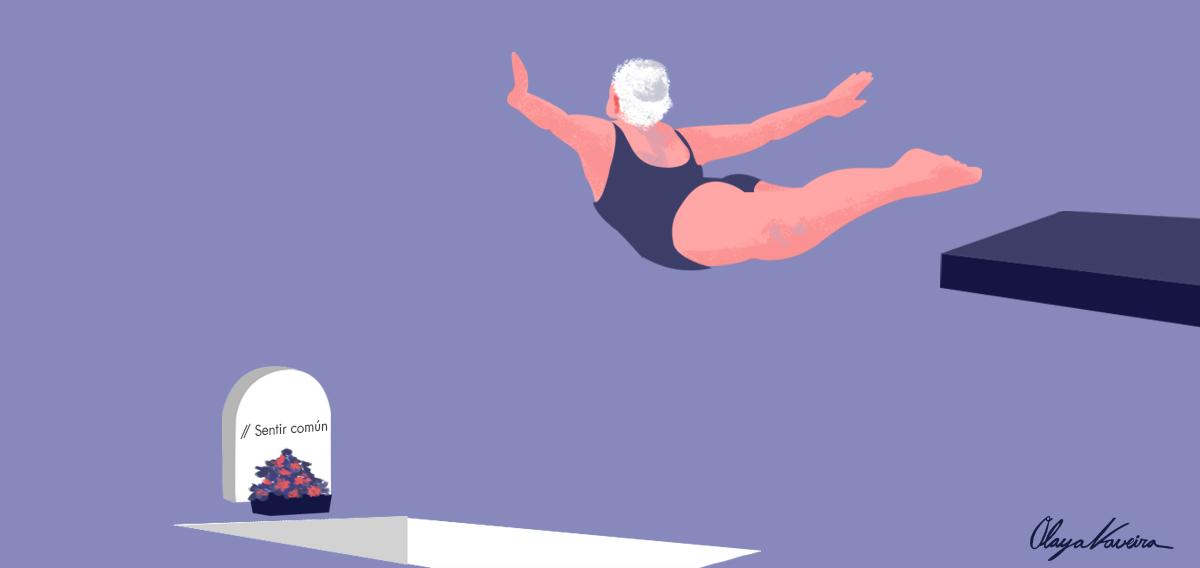 Un paso adiante. Os suicidios por desafiuzamento son unha realidade demasiado cotiá. Ilustración por Olaya Naveira